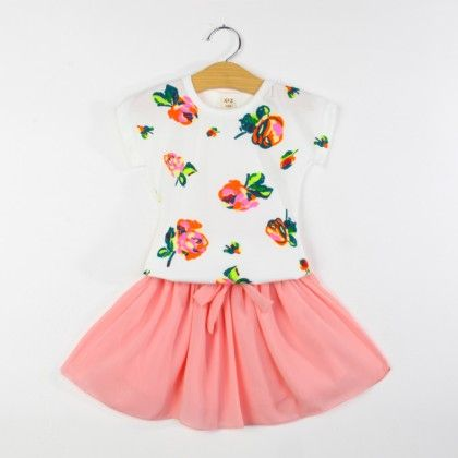 Cute Printed Top And Skirt Set - Peach - XFZ