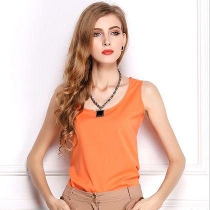 Orange Sleevless Top - Dell's World
