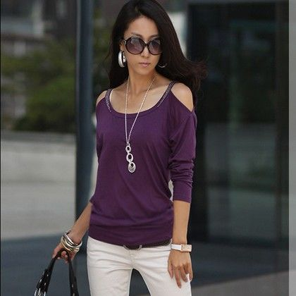 Off The Shoulder Purple Color Tops - STUPA FASHION