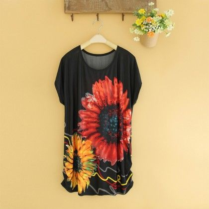 Red And Yellow Sunflower Print Top - Dell's World