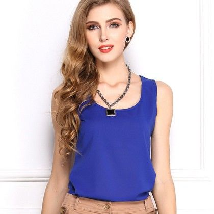 Royal Blue Sleevless Top - Dell's World