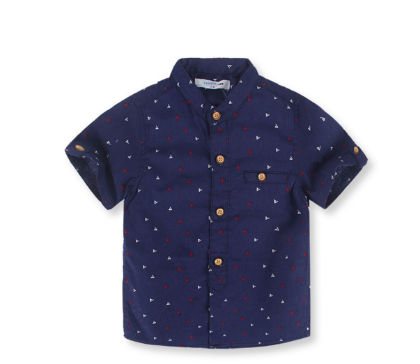 Boy's Navy Printed Short-sleeved Shirt - Sj Kids