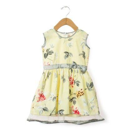 Lemon Yellow Floral Printed Sleeveless Dress - Taramira