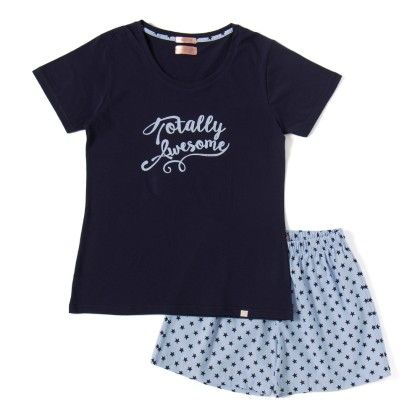 Navy Blue Top With Star Printed Shorts Set - Sheer Love