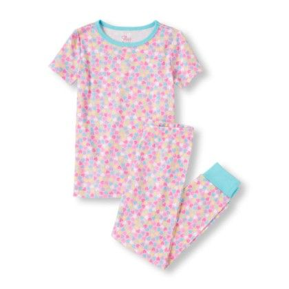 Girls Short Sleeve Heart Print Top And Pants Pj Set - The Children's Place
