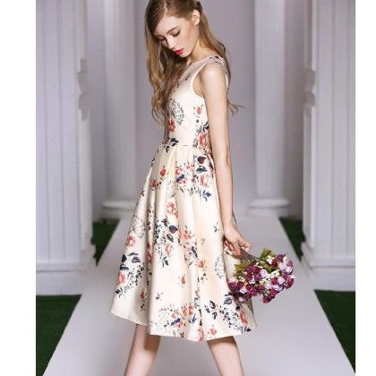 Summer Dress Printed Vintage Pleated Floral Dress - Cream - STUPA FASHION