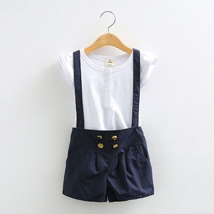 2 Piece Suspender Shorts And Tees Set Blue - Mauve Collection