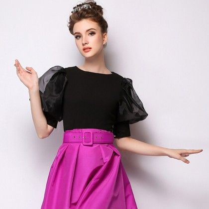 Latest Organza Sleeve Trendy Top - Black - Mauve Collection