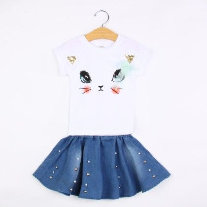 Cute Kitten Eyes T-shirt And Skirt Set- Blue - Belle Maison
