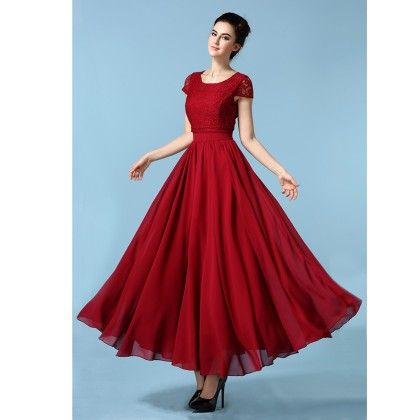 Red Colored Flared Maxi Dress - STUPA FASHION