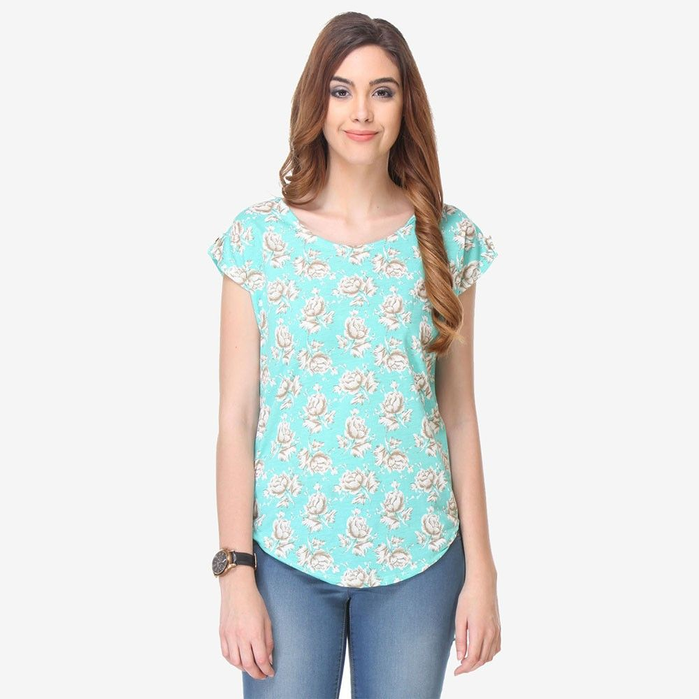 Multi Colored Crepe Printed Top - Varanga - 325727
