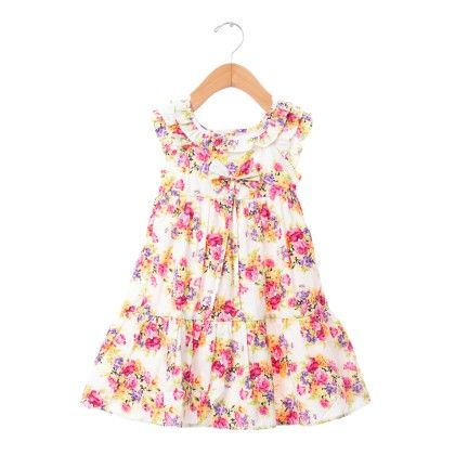 White Floral Print Frock With Bow - De Berry