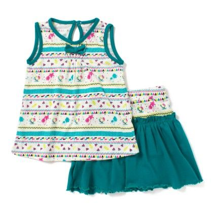 Green Beautiful Printed Tee & Skirt Set - Earth Conscious