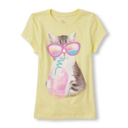 Girls Short Sleeve Milkshake Cat Graphic Tee - The Children's Place