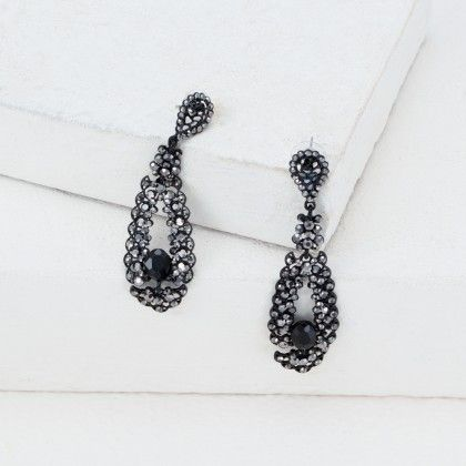 Enthrall In Glitter Earrings- Black Stone - Anaira