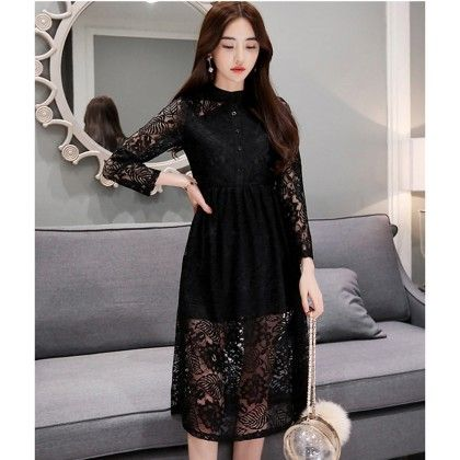 Premium Fabric Black - Neck Lace Dress - Dell's World
