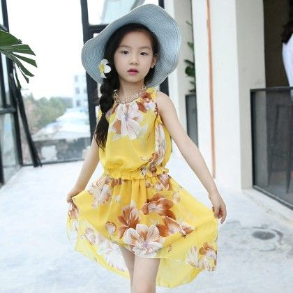 Yellow Floral Print Dress - Lil Mantra