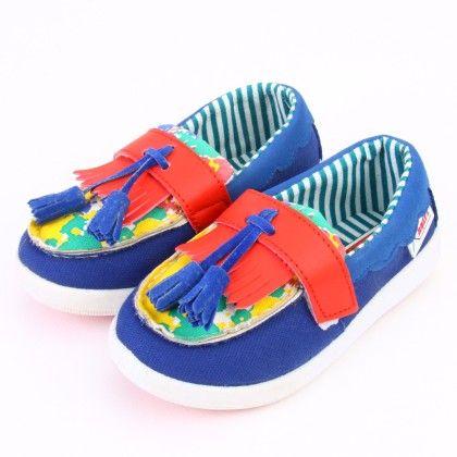 Boys Blue Tassel Slip On Shoes - Miqi Shoes