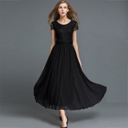 Long Maxi Dress Evening Party Beach - Black - STUPA FASHION