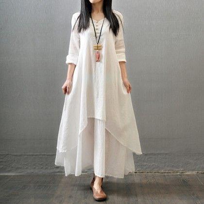 Women Elegant Loose Dress Cotton Linen - White - STUPA FASHION
