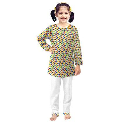Green Abstract Printed Kurta & Pajama Set - Oranges And Lemons