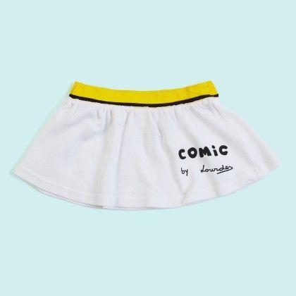 White Comic Plain Skirt - Lourdes