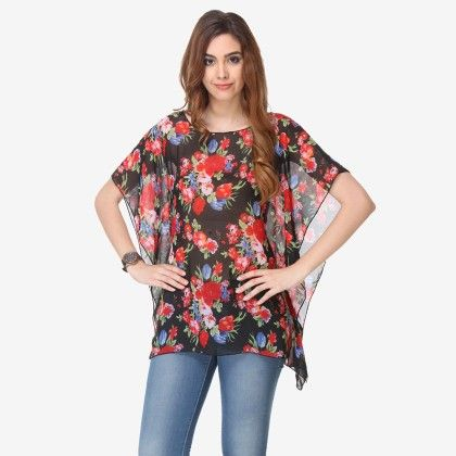 Multi Colored Chiffon Printed Top - Varanga - 325738