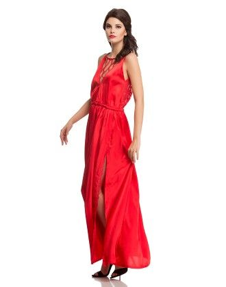 Sexy Satin Nightgown With Mesh Lace In Red - Clovia