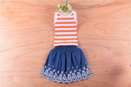 Cute Striped Top And Skirt Set - Orange - MeiQ