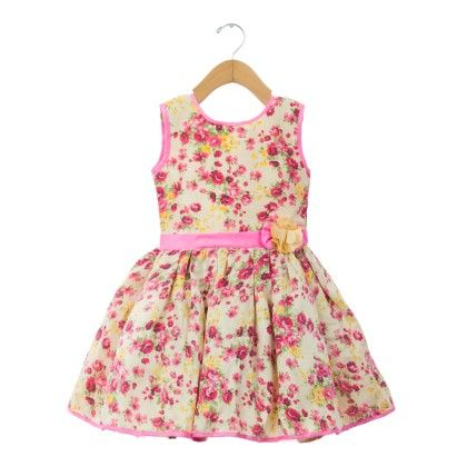 Pink Floral Printed Sleeveless Dress - ChipChop