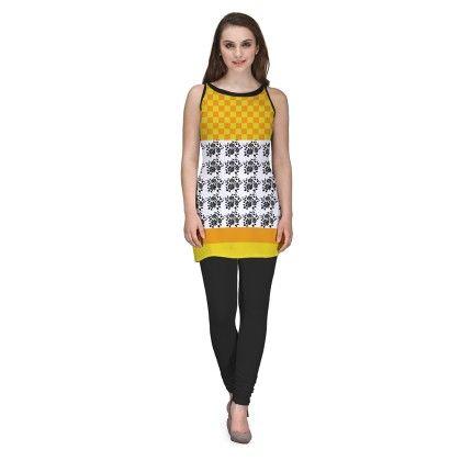 Yellow Digitally Printed Georgette Kurti - Avya