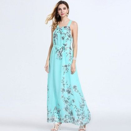 Blue Bohemian Chiffon Floral Print Off-shoulder Dress - Dell's World