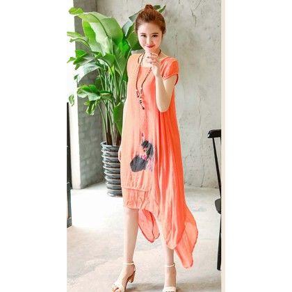 Orange Linnen Short Sleeve Dress - Dell's World