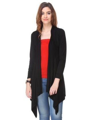 Black Solid Cotton Shrug - Varanga