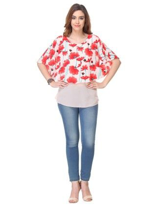 Printed Crepe Peach Top - Varanga