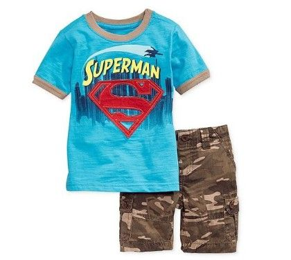 Boys Blue Printed T-shirt And Shorts Set - Blue - MeiQ