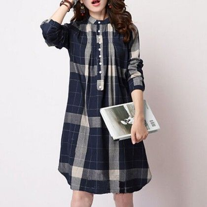 Plaid Print Long Top - Blue - Mauve Collection