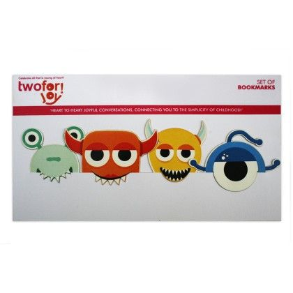 Set Of 4 Monster Bookmarks - Two For Joy