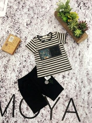 Gray Striped T-shirt And Shorts Set - Chilli Garment