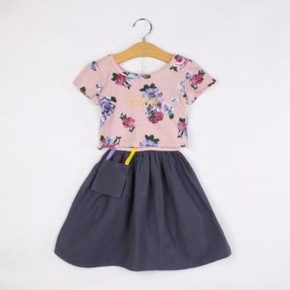 Pink Floral Print Top And Skirt Set - F Fly