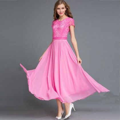 Pink Colored Flared Maxi Dress - STUPA FASHION