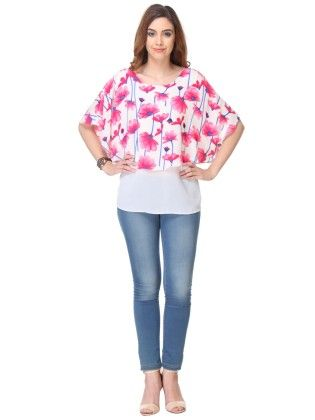 Printed Crepe White Top - Varanga