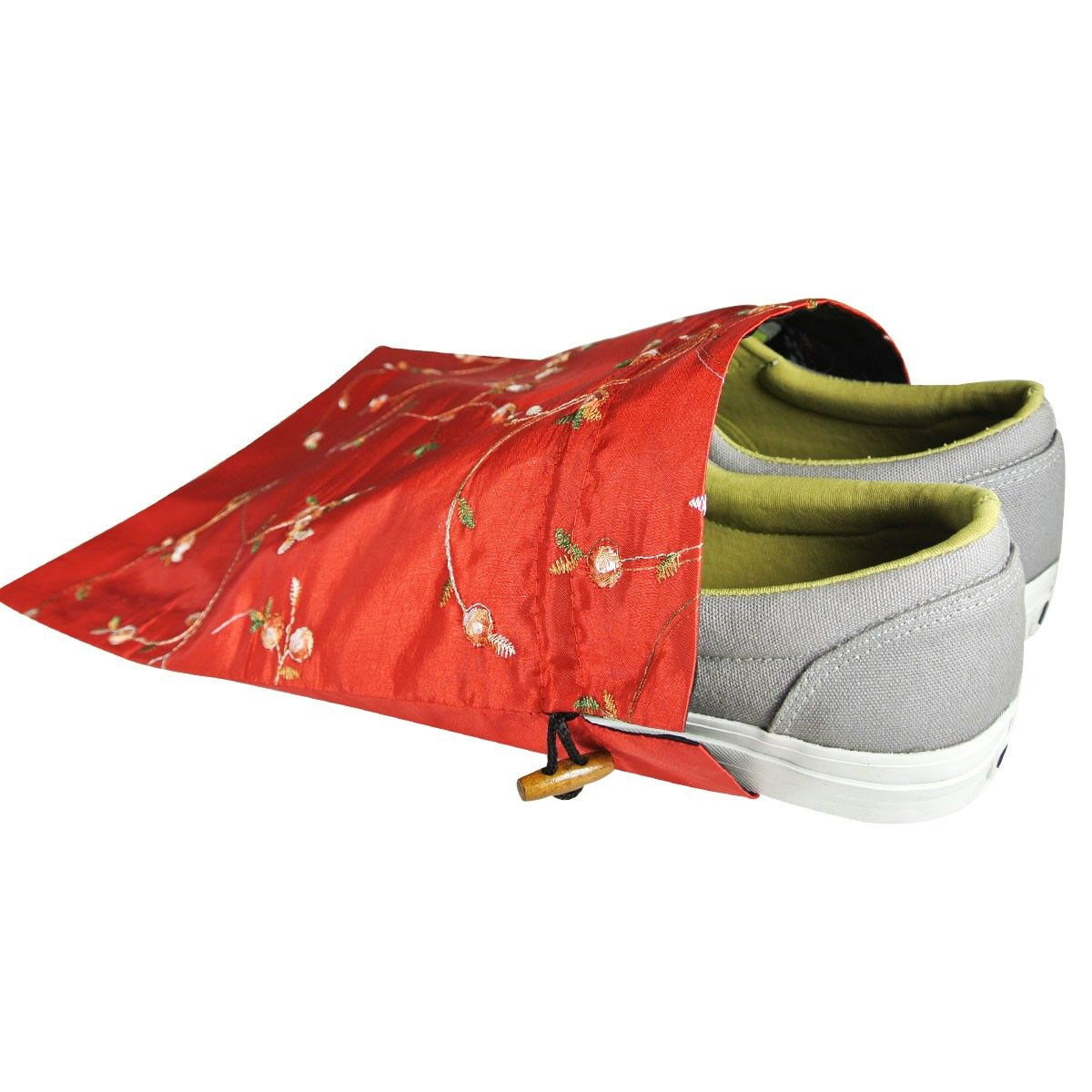 Beautiful-embroidered Silk Travel Bag For Shoes Assorted 1 Unit - Wrapables