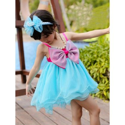 Frilled Dress With Bow - Blue - Love Baby