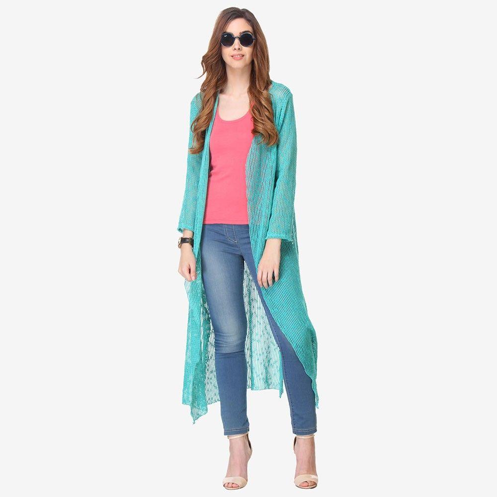 Multi Colored Mesh / Lace Solid Shrug - Varanga - 325756