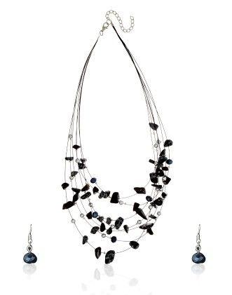 Black Stone Necklace Set - Dressvilla