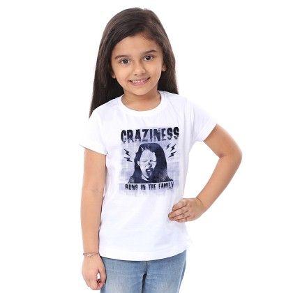 Girl's Craziness Print White T-shirt - BonOrganik