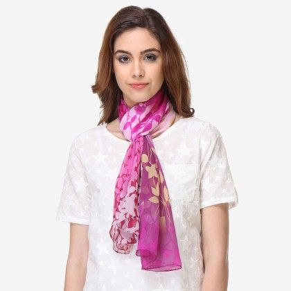 Multi Colored Chiffon Printed Scarf - Varanga - 325759