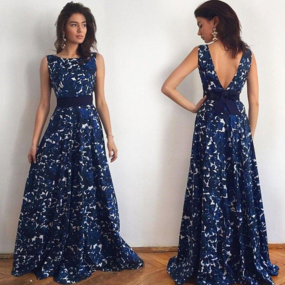 Spring Print Flowers Casual Long Maxi Dress - Navy Blue - STUPA FASHION