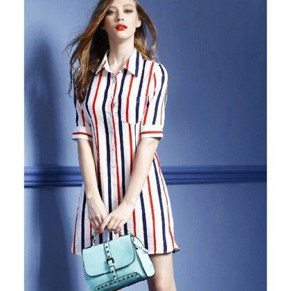 Trendy Stripe Long Top - Mauve Collection